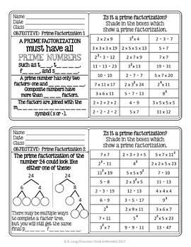Prime Factorization Warm-ups and Assessment
