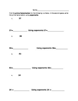 Prime Factorization Worksheet by Andrea B | Teachers Pay Teachers