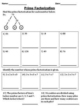 Prime Factorization Worksheets