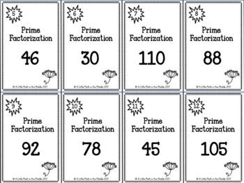 Prime Factorization Zap Cards TEKS 6.7A