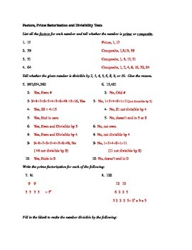 Prime Factorization and Divisibility Tests