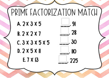 Prime Factorization and Factor Pair Boom Cards