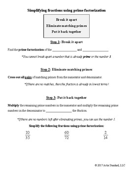 Prime Factorization and Simplifying Fractions Notes