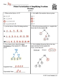 Prime Factorization and Simplifying Fractions Practice