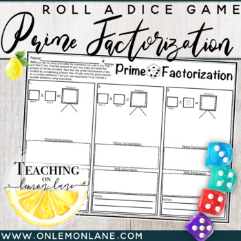 Prime Factorization with Exponents Dice Game (Prime Factors/Factoring)