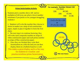 Prime Factorization/Factor Tree Paper Chain Activity