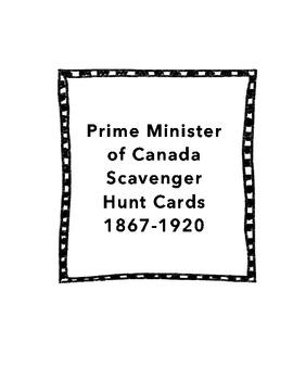 Prime Minister of Canada Scavenger Hunt Cards