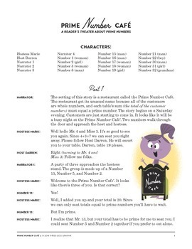 Prime Numbers Readers Theater Prime Number Cafe Play