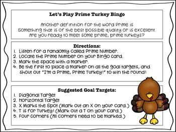 Thanksgiving Prime Number Turkey Bingo