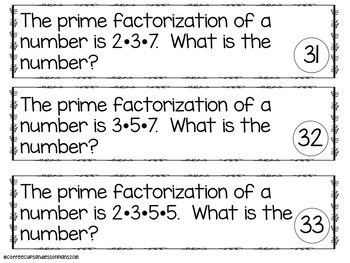 Prime Numbers, Divisibility, LCM, GCF Scoot and Compute Pack