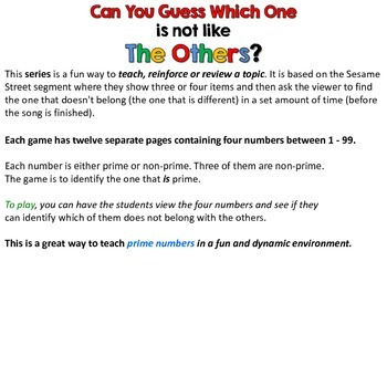 Prime Numbers I - Can you guess which one? - print version