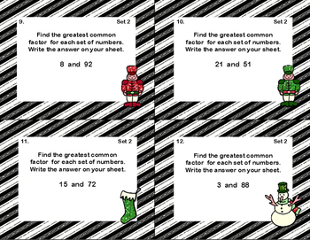 Prime Numbers, LCM's,and GCF's-Grades 5-6-120 Math Task Cards-Christmas