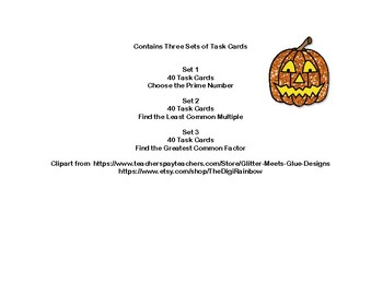Prime Numbers, LCM's,and GCF's-Grades 5-6-120 Math Task Cards-Halloween