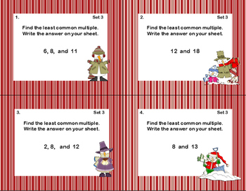 Prime Numbers, LCM's,and GCF's-Grades 5-6-120 Math Task Cards-Winter