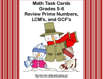 Prime Numbers, LCM's,and GCF's-Grades 5-6-120 Math Task Ca