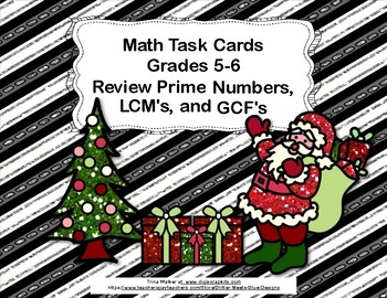 Prime Numbers, Least Common Multiple,Greatest Common Factor Task Cards-Holiday