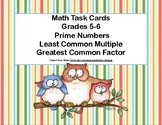 Prime Numbers, Least Common Multiple ,and Greatest Common Factor Task Cards