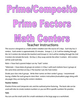 Prime Numbers and Prime Factors Centers and Activities