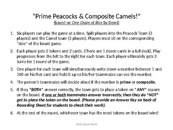 Prime Peacocks & Composite Camels Game {based on One Grain of Rice by Demi}