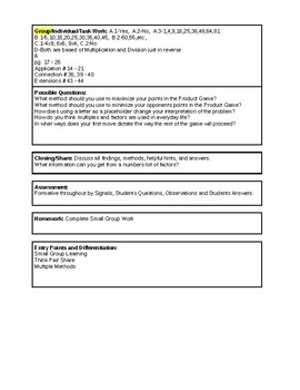 6th Grade CMP3 Lesson Plan - Prime Time 1.3 - Workshop Model