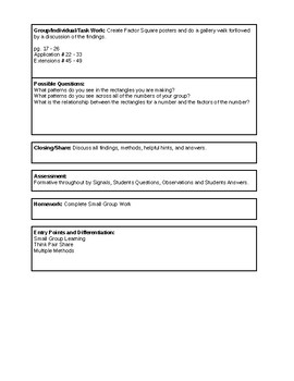 6th Grade CMP3 Lesson Plan - Prime Time 1.4 - Workshop Model