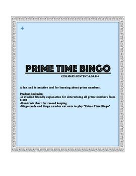 Prime Time Bingo (Prime Numbers)