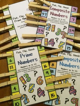 Prime and Composite Numbers Free Pick, Flip, Check Cards and Posters