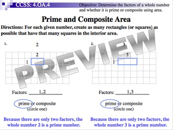 Prime and Composite Area (Part of Fractions Unit)