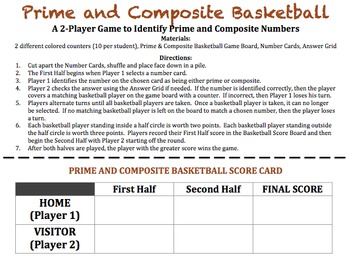 Prime and Composite Basketball - A Game to Identify Prime and Composite Numbers