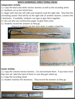 Prime and Composite Dominoes Activity