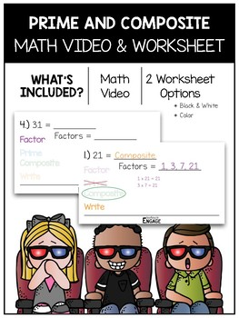 Prime and Composite Math Video and Worksheet