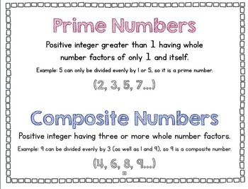 Prime and Composite Number Anchor Chart