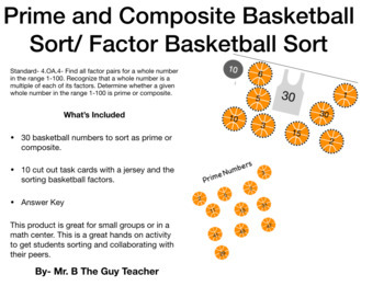 Prime and Composite Number Sort/ Factor Task Cards- Basketball Themed