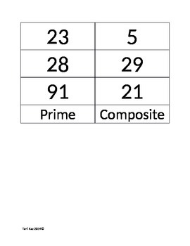 Prime and Composite Number Sort Game