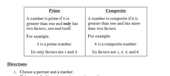 Prime and Composite Numbers Activity