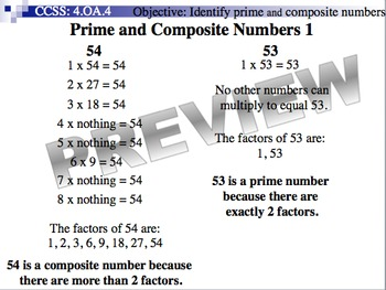 Prime and Composite Numbers (Part of Fractions Unit)