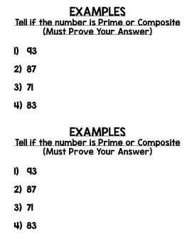 Prime and Composite Numbers Journal Notes