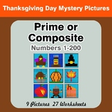 Prime and Composite Numbers - Math Mystery Pictures - Thanksgiving