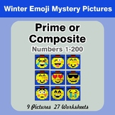 Prime and Composite Numbers - Math Mystery Pictures - Winter Emoji