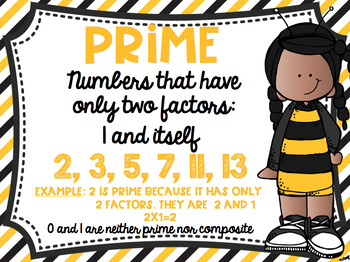 Prime and Composite Numbers Posters FREEBIE Bumblebee Bee Theme