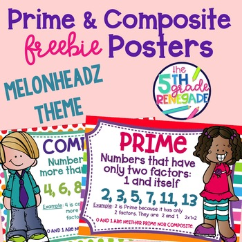 Prime and Composite Numbers Posters FREEBIE Melonheadz Theme