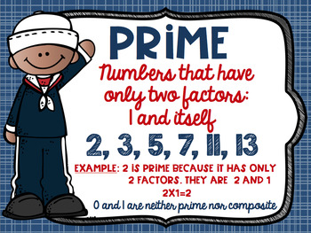 Prime and Composite Numbers Posters FREEBIE Nautical Theme