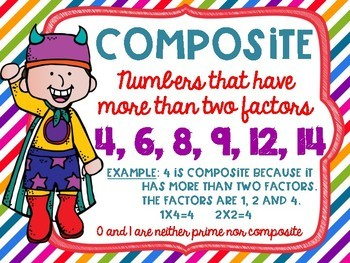 Prime and Composite Numbers Posters FREEBIE Superhero Theme