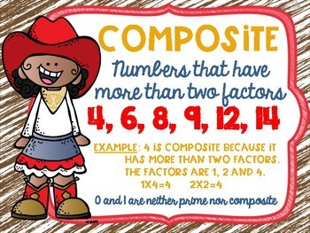Prime and Composite Numbers Posters FREEBIE Western Cowboy Theme