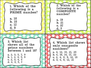 Prime and Composite Numbers Task Cards