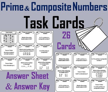 Prime and Composite Numbers Task Cards Practice Activity - 4th 5th 6th Grade