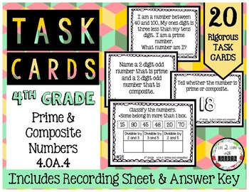 4th Grade Task Cards | Prime and Composite Numbers 4.OA.4
