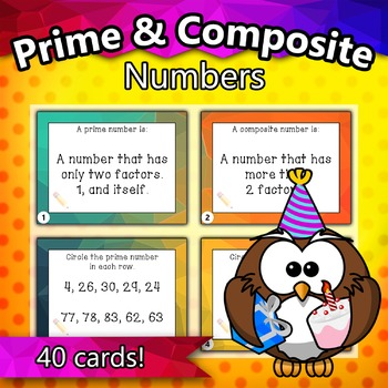 4.OA.4 - Prime and Composite Numbers Taskcards