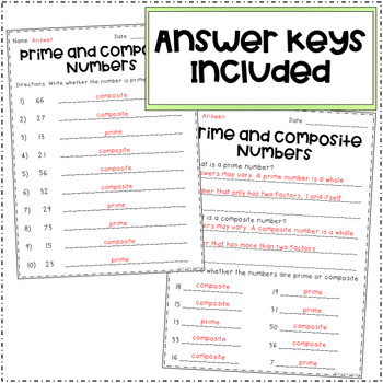 Prime and Composite Numbers (Worksheets)