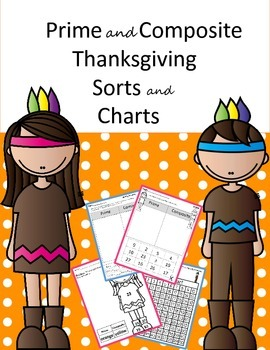 Prime and Composite Sorts and Charts - Thanksgiving Indians